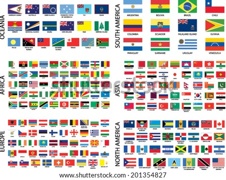 Alphabetical Country Flags by Continent - stock vector
