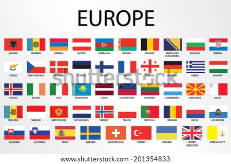 Alphabetical Country Flags for the Continent of  - stock vector