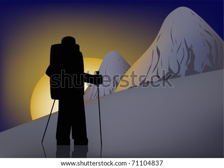 Alpinist on a background dawn mountains - stock vector