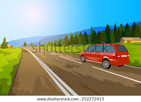 Alps car travel. EPS 10 format. - stock vector