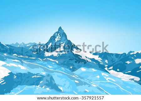 Alps Matterhorn mountain winter landscape - stock vector