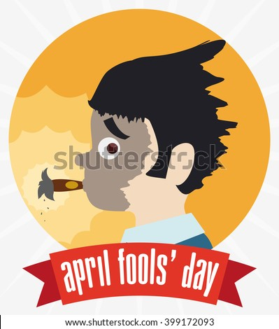 Already exploded cigarette in man face pranked with ribbon and April Fools' Day text. - stock vector