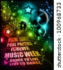 Alternative Discoteque Music Flyer for   Miami night clubs and music events - stock vector