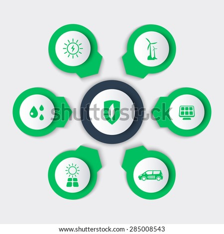 Alternative energetics, green ecologic technologies round modern icons, vector illustration, eps10, easy to edit - stock vector