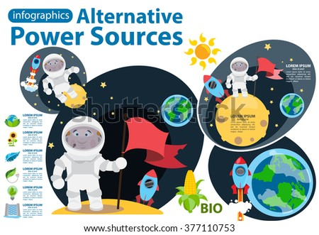 Alternative energy icons and characters. Solar panels, wind turbines, hydro dam, biological energy sources. Science and Technology. - stock vector