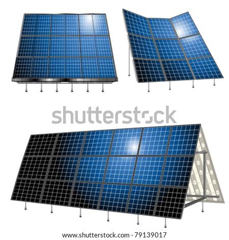 Alternative energy, solar panels over white background - stock vector