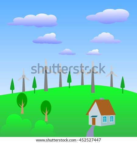 Alternative energy source., Wind turbines farm. - stock vector