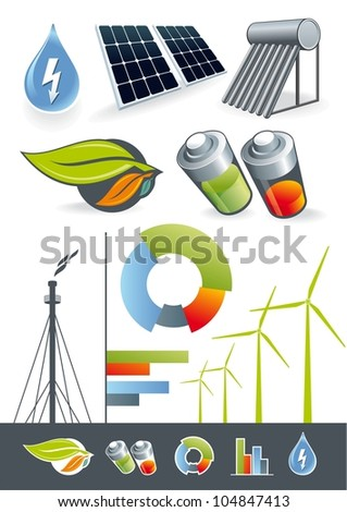 Alternative energy sources. Illustration of renewable energy for the static or presentation. - stock vector