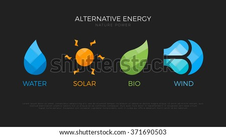 Alternative energy sources logo. Templates for renewable energy or ecology logos. Nature power symbols. Four elements icons. Origami. Simple icons of alternative energy. - stock vector