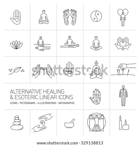 alternative healing and esoteric linear icons set black on white background | flat design illustration and infographic - stock vector