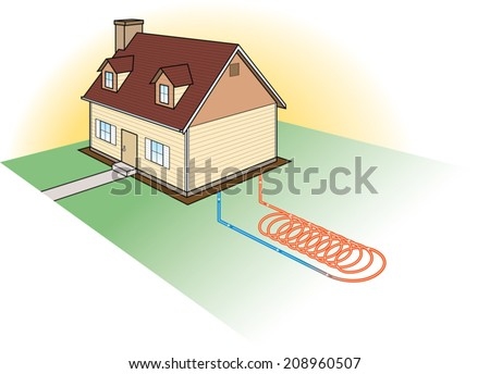 Alternative Heating-Coil System. Vector Illustration of a Diagram of a Ground Source Heat Exchange Coil System. - stock vector