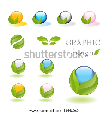 Alternative medicine vector icon set with nature inspired elements and soft reflection on white floor - stock vector