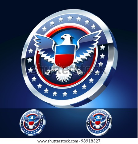 Alternative symbol of an American Eagle located in the 3D frame. Chrome edition - stock vector