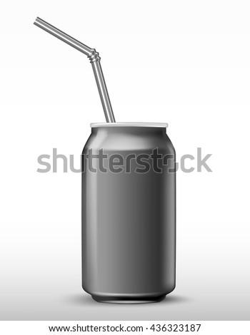 aluminium soda grey beverage can with a straw. Vector illustration fresh metallic soda drink  - stock vector
