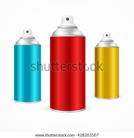 Aluminium Spray Can Template Blank.  Packaging collection. Vector illustration - stock vector