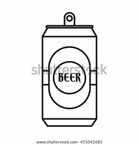 Aluminum can icon in outline style isolated vector illustration - stock vector
