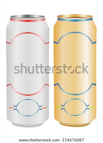 Aluminum can with water drops isolated on white - stock vector