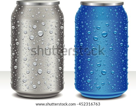 Aluminum Cans in grey and blue with fresh water drops - stock vector