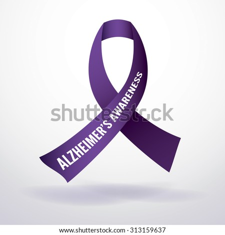 Alzheimer's disease awareness ribbon. Vector EPS 10. EPS file contains gradient mesh in dropshadow. - stock vector