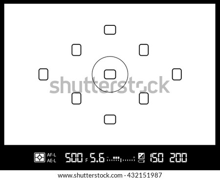 amateur DSLR photo camera viewfinder with AF dots, exposure and camera settings. Vector EPS8 background - stock vector