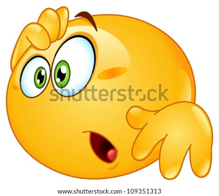 Amazed emoticon - stock vector