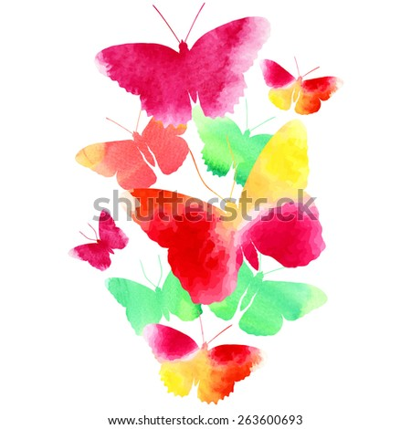 Amazing background with butterflies painted with watercolors. Vector illustration. - stock vector