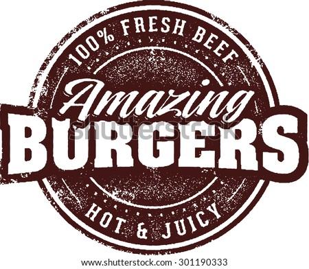 Amazing Burgers Vintage Restaurant Menu Sign - stock vector