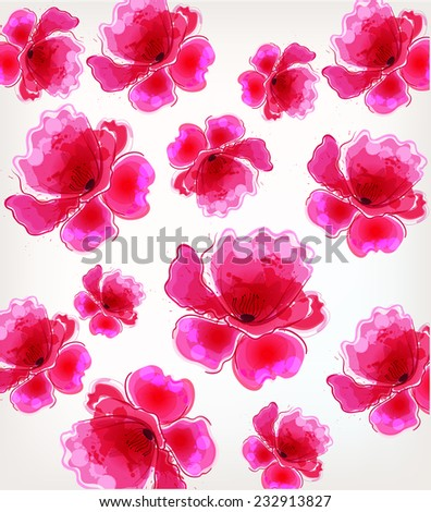 Amazing colorful background with colorful poppy and blots - stock vector