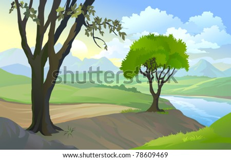 Amazing Country Road By Lake - stock vector