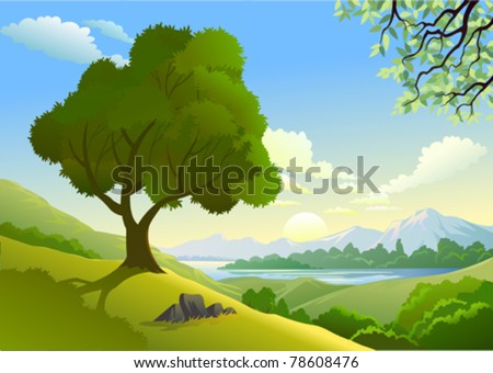 Amazing  Country Side And a Lonely Tree By Lake - stock vector