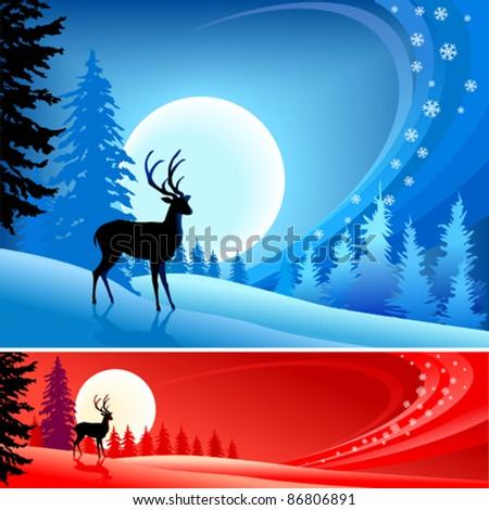 Amazing Reindeer   ' Christmas Background ' - stock vector