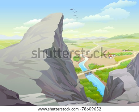 Amazing Rocky Hills , River and Vast Country Side - stock vector