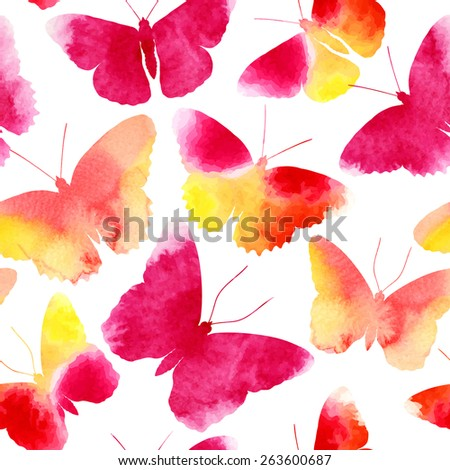 Amazing seamless background with butterflies painted with watercolors, vector illustration - stock vector