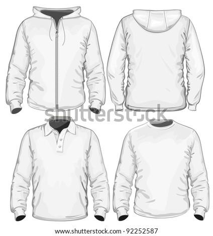 Amazing vector set. Men's polo-shirt, t-shirt and sweatshirt (long sleeve) design template. No mesh. - stock vector