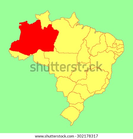 Amazonas ,Brazil, vector map isolated on Brazil map. Editable vector map of Brazil.  - stock vector