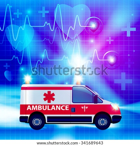 Ambulance car isolated on a medical background. Vector illustration - stock vector