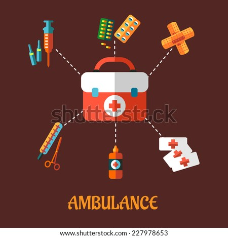 Ambulance concept with a vector flat icons of a first aid kit surrounded by its contents  plasters, medication, forceps, syringe and tablets depicting healthcare. For medicine and infographic design - stock vector
