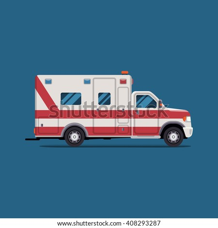 Ambulance emergency paramedic car. Vector modern creative flat design. First aid transportation. Isolate on white background. - stock vector