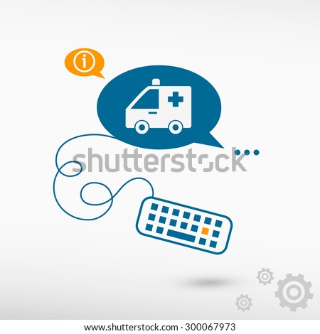 Ambulance icon and keyboard on chat speech bubbles. Line icons for application and creative process. - stock vector