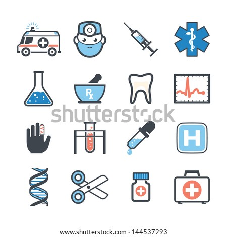 Ambulance icons set colors - stock vector