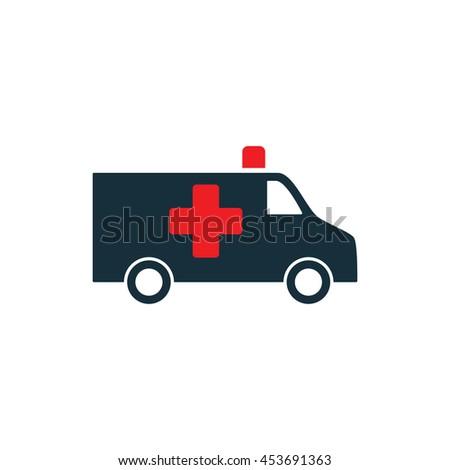 ambulance medical van icon on white background - stock vector