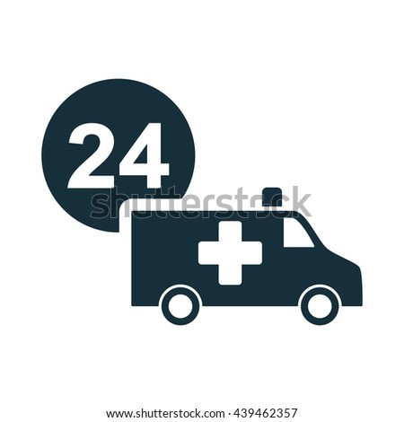 ambulance medical van nonstop icon on white background - stock vector