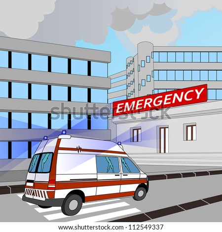 ambulance runs to the emergency room - stock vector