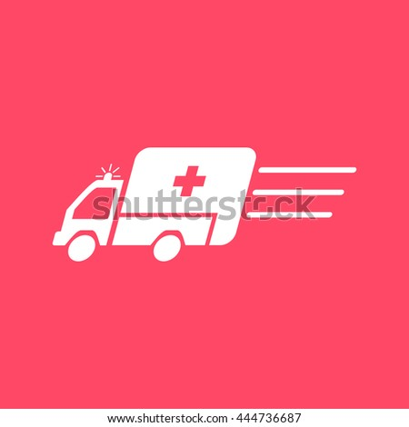 Ambulance white icon on magenta color background. Eps-10. - stock vector