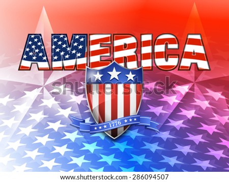 AMERICA American Flag and Shield Background - stock vector