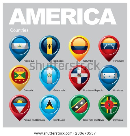 AMERICA Countries - Part Four - stock vector