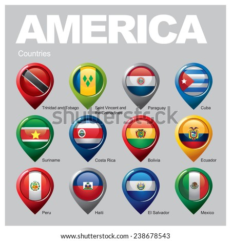 AMERICA Countries - Part Six - stock vector