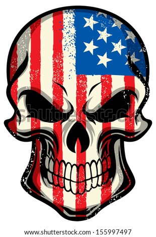 America Flag painted on a skull - stock vector