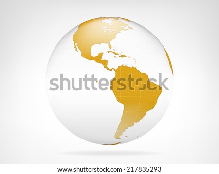 America golden planet backdrop view vector illustration - stock vector