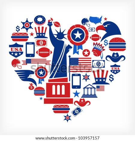 America love - heart shape with many vector icons - stock vector